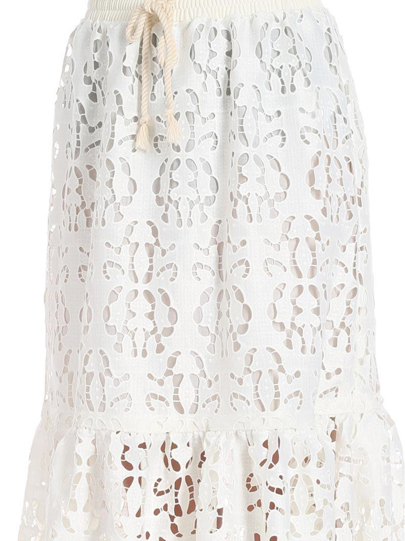 See By Chloé Synthetic Longuette Cream Colored Broderie Anglaise Skirt in Natural