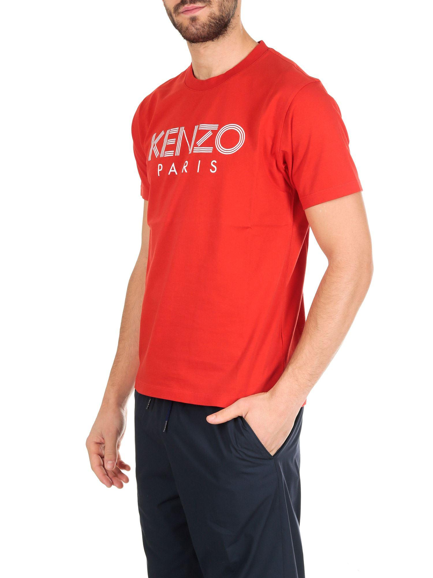 003a4f273 Lyst - KENZO Paris T-shirt In Red Cotton in Red for Men