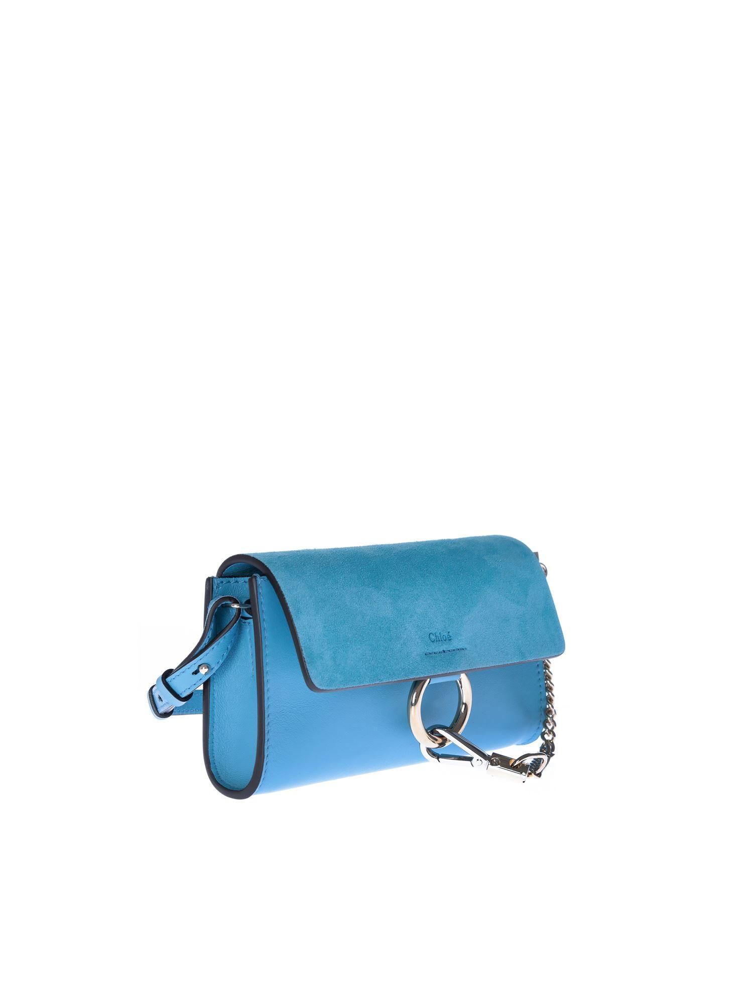 170d00d1 Chloé Faye Wallet In Tomboy Light Blue Leather