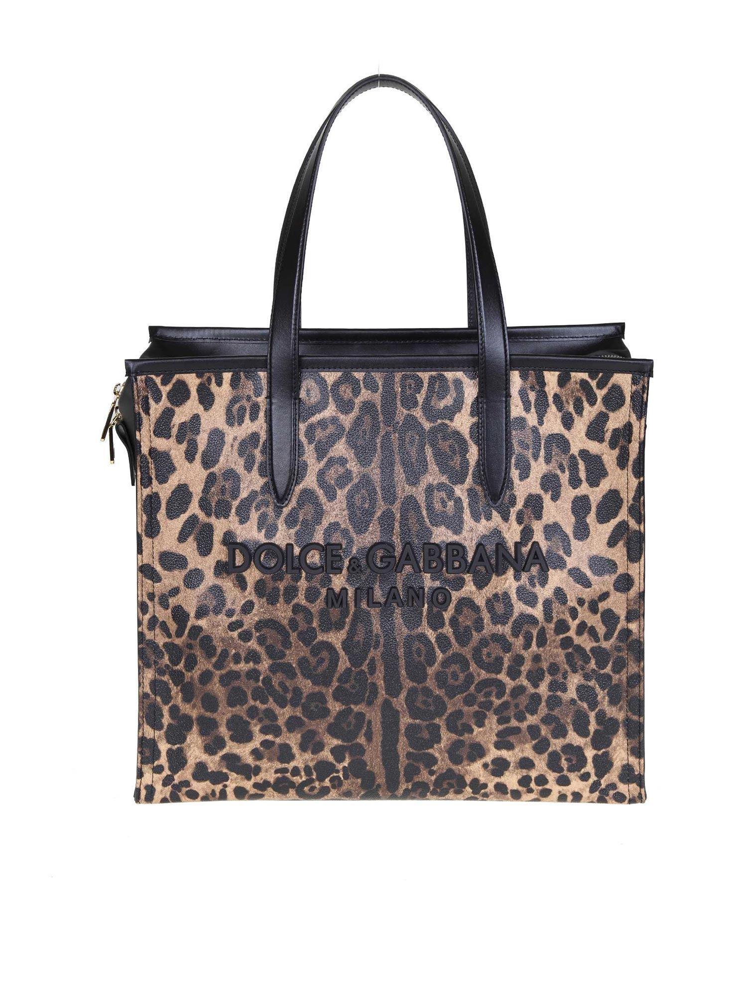 f9a60f3ac03b Lyst - Dolce   Gabbana Leopard Medium Market Shopping Tote in Black ...