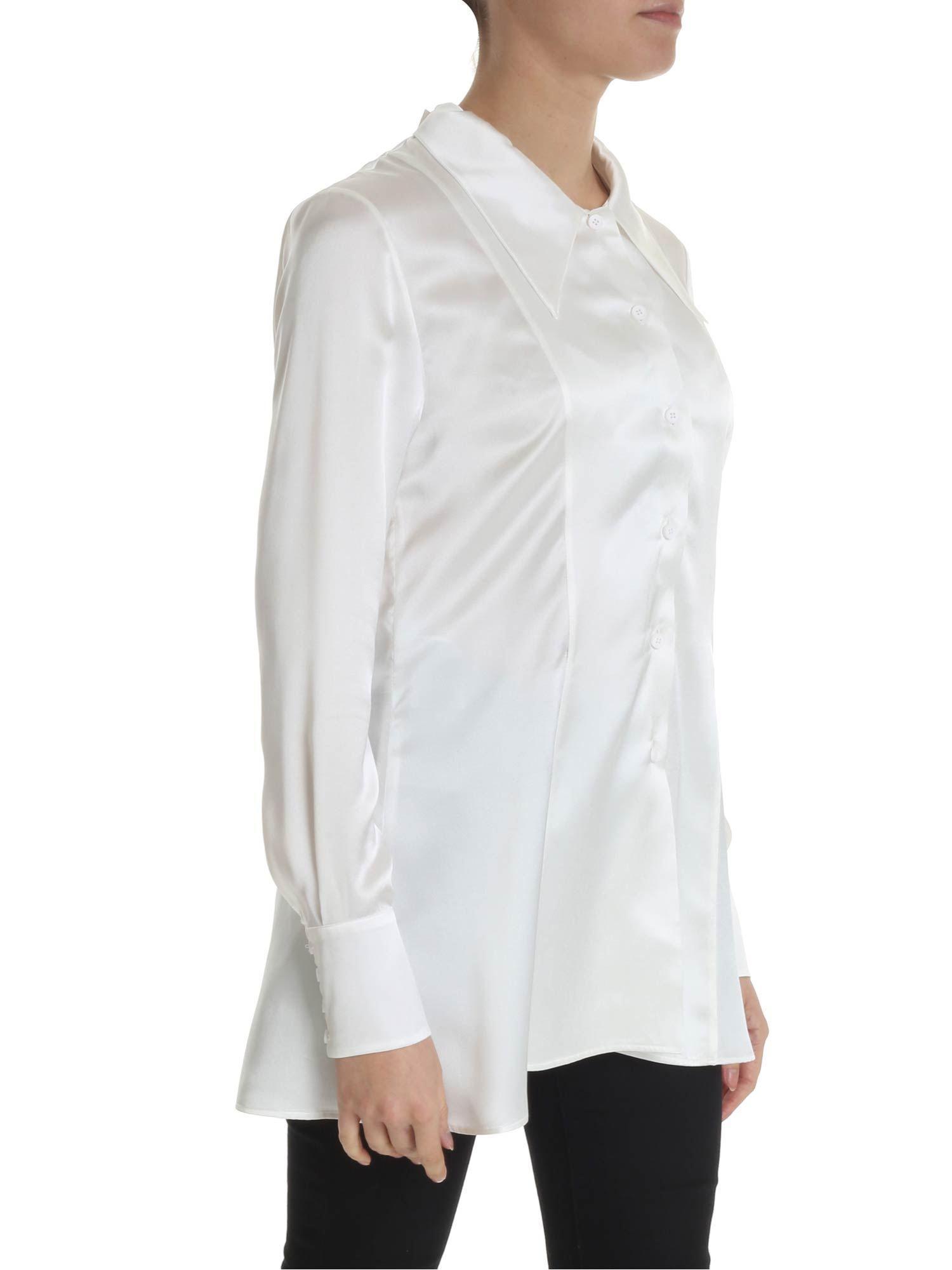 e1b4a40341e8a7 Maison Margiela - Shirt In White Silk With Lace - Lyst. View fullscreen