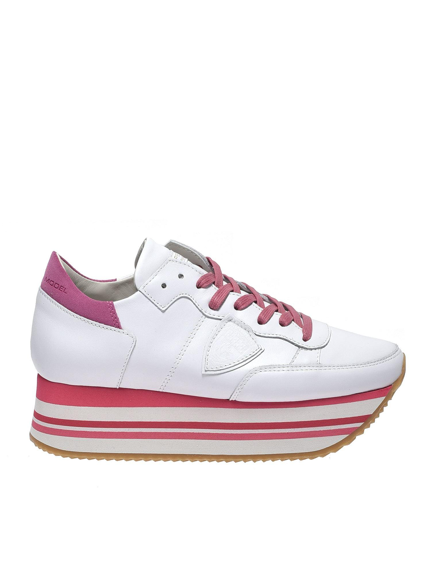 3826105cdabb Lyst - Philippe Model White And Fuchsia Eild Sneakers in White