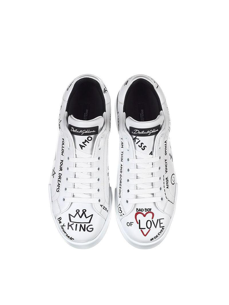 Dolce & Gabbana Printed Leather Port Light Sneakers