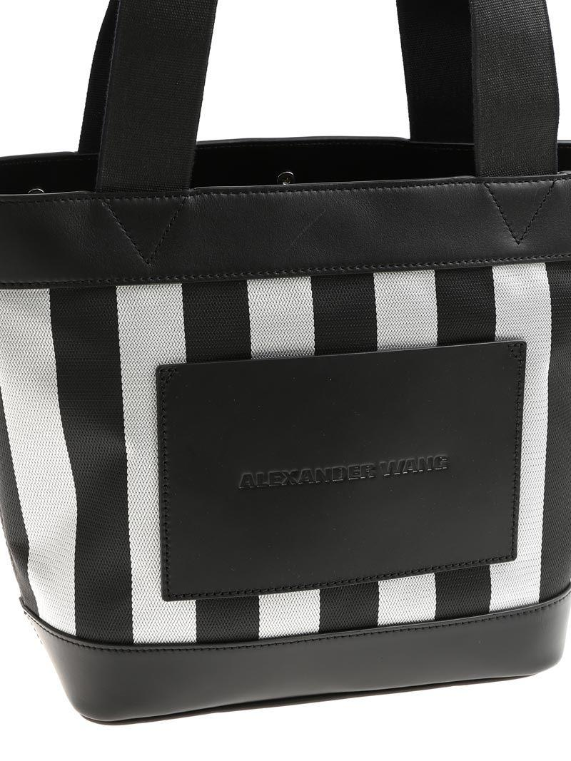 Alexander Wang Leather-trimmed Striped Canvas Tote in Black
