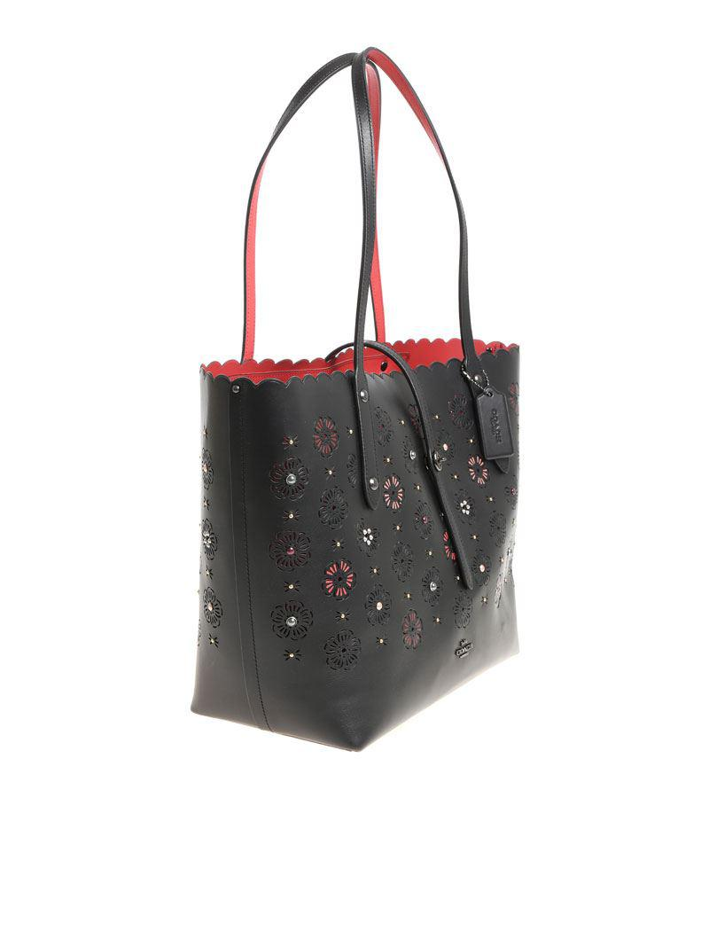 COACH Leather Black Tote Bag With Pierced Flowers