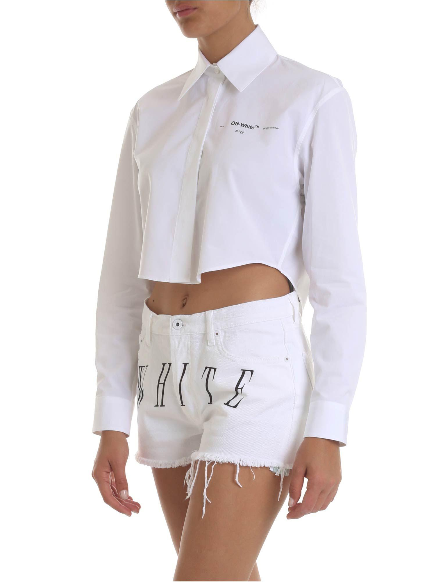 4953b67e4d Off-White c o Virgil Abloh Crop Shirt In White With Logo Print in White -  Lyst