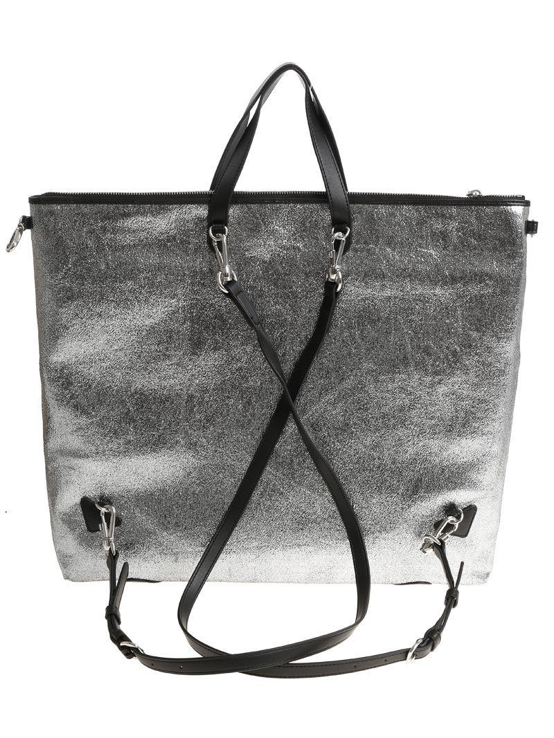 Love Moschino Silver Crackle Eco-leather Backpack-bag in Metallic