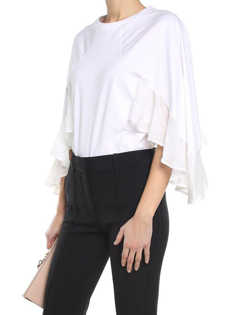 Outlet Sneakernews White jersey top with chiffon inserts Chloé Cheap Order Great Deals Cheap Price Free Shipping Cost Sx3DIYiEzc