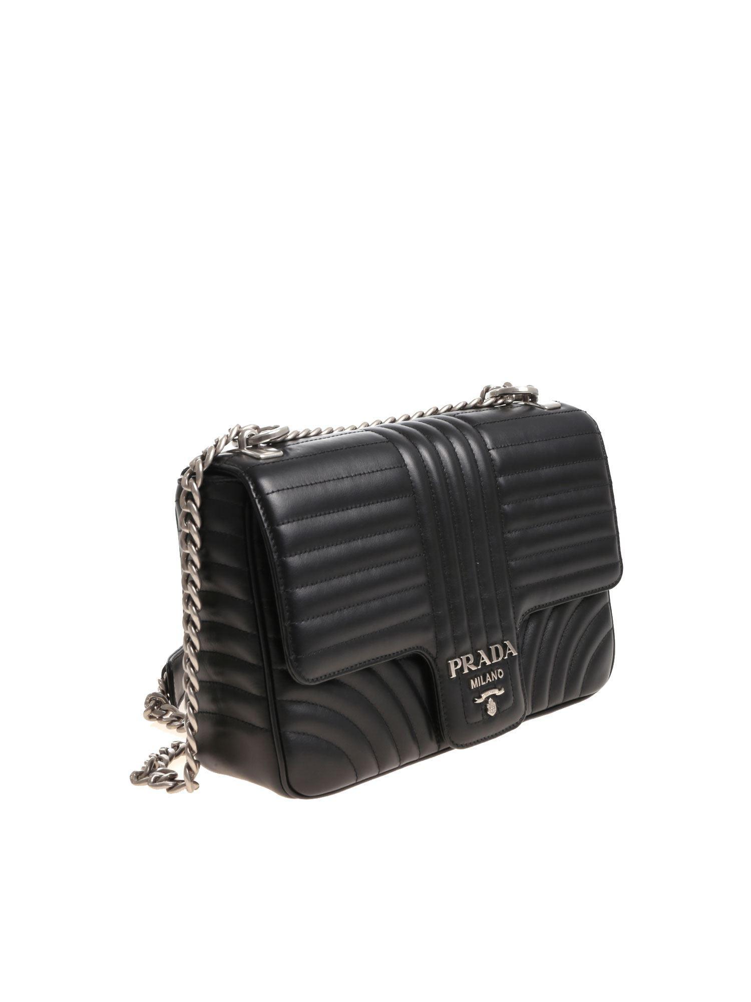 e6e6fe60974fbd Lyst - Prada Quilted Black Leather Shoulder Bag in Black - Save 10%