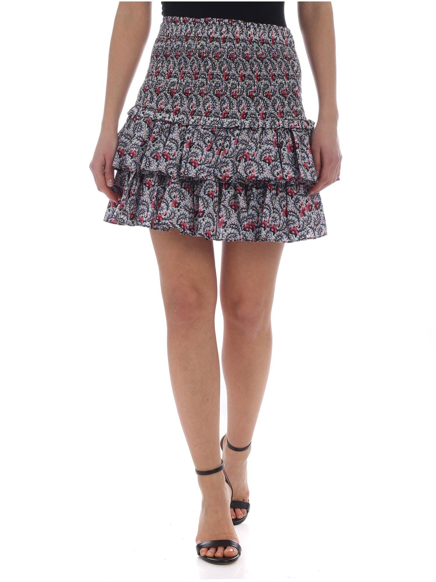 831d87ab0fd23 Étoile Isabel Marant White Naomi Skirt With Floral Pattern in White ...