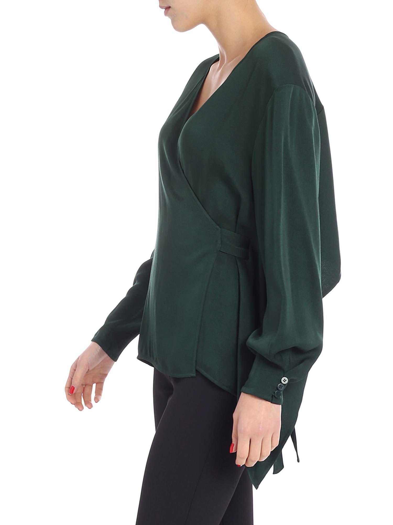 1a0029530feef Lyst - Diane von Furstenberg Green Wrap Blouse in Green