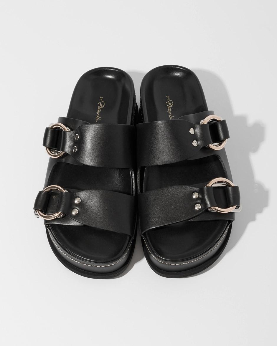 43eda849cb8 3.1 Phillip Lim Black Freida Double Buckle Platform Sandals in Black - Save  2% - Lyst