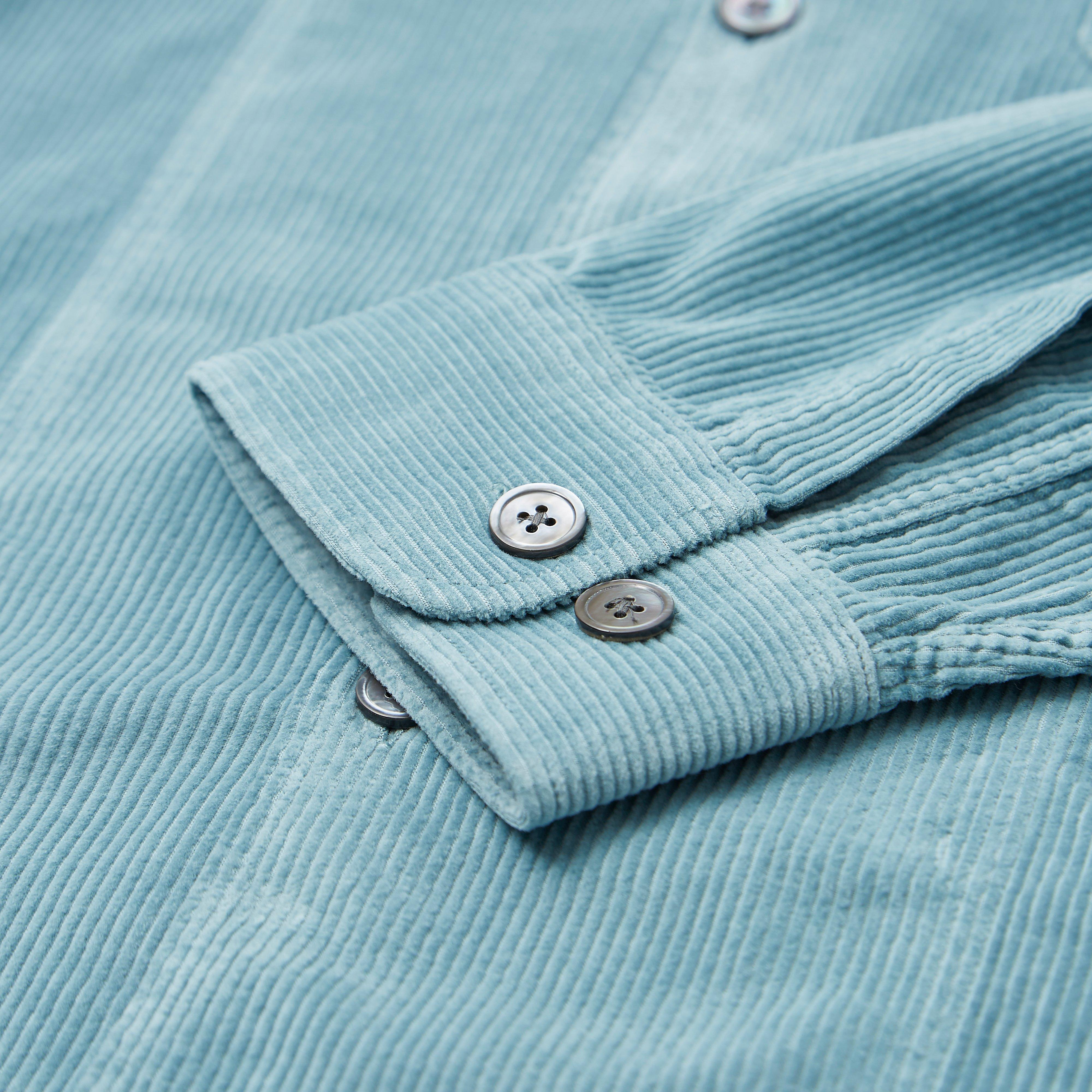 Tres Bien Soft Cord Tunic Overshirt in Blue for Men
