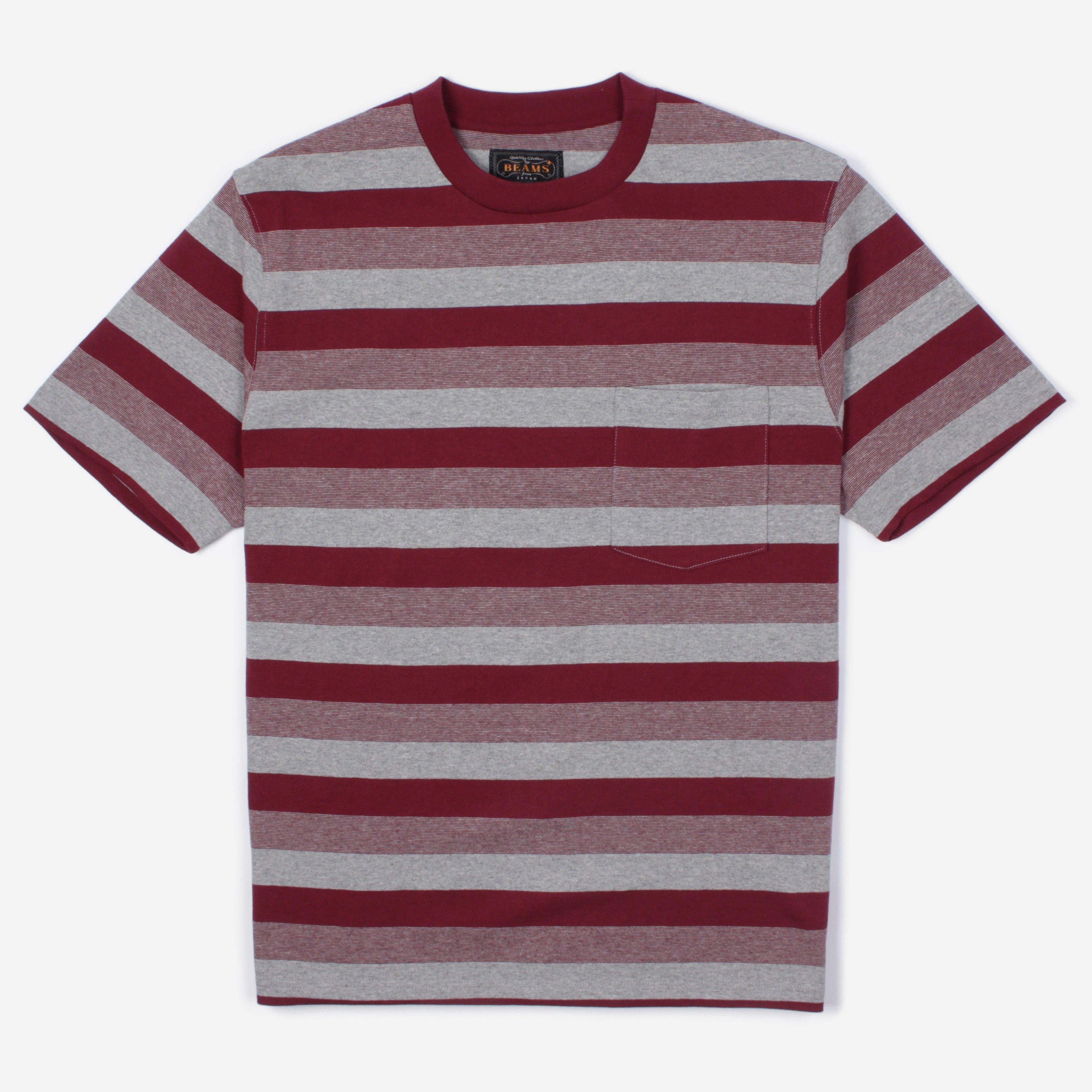 Lyst - Beams Plus Graduation Border Stripe Pocket T-shirt ...Red Graduation Borders