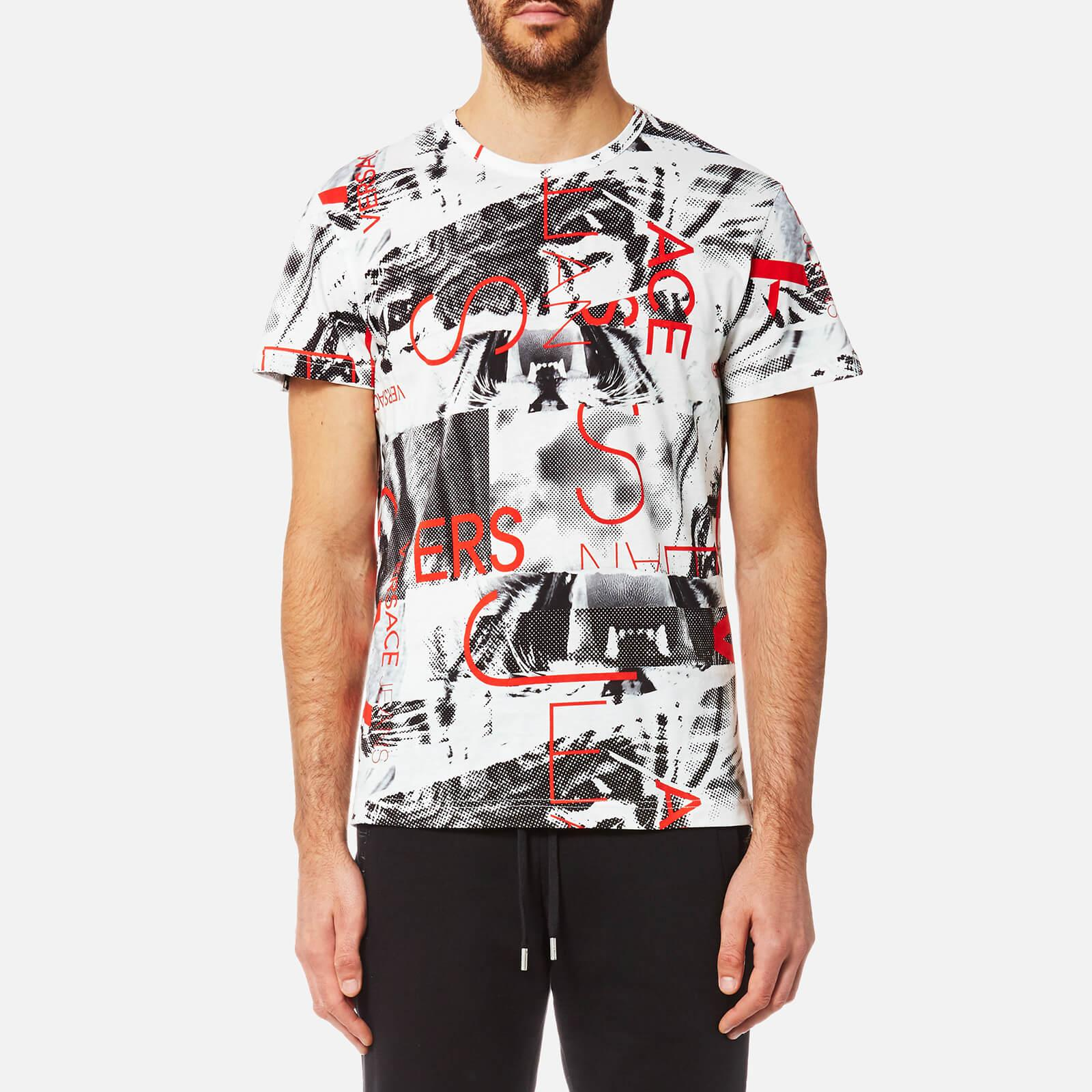 Lyst versace jeans all over print t shirt in white for men for All over printing t shirts