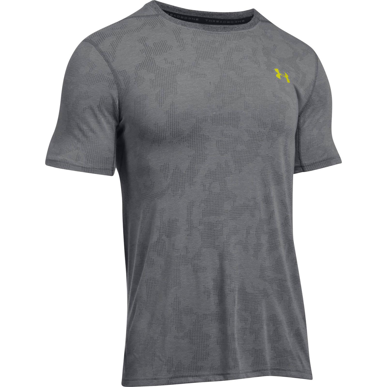 Lyst under armour elite fitted t shirt in gray for men for Under armour fitted t shirt