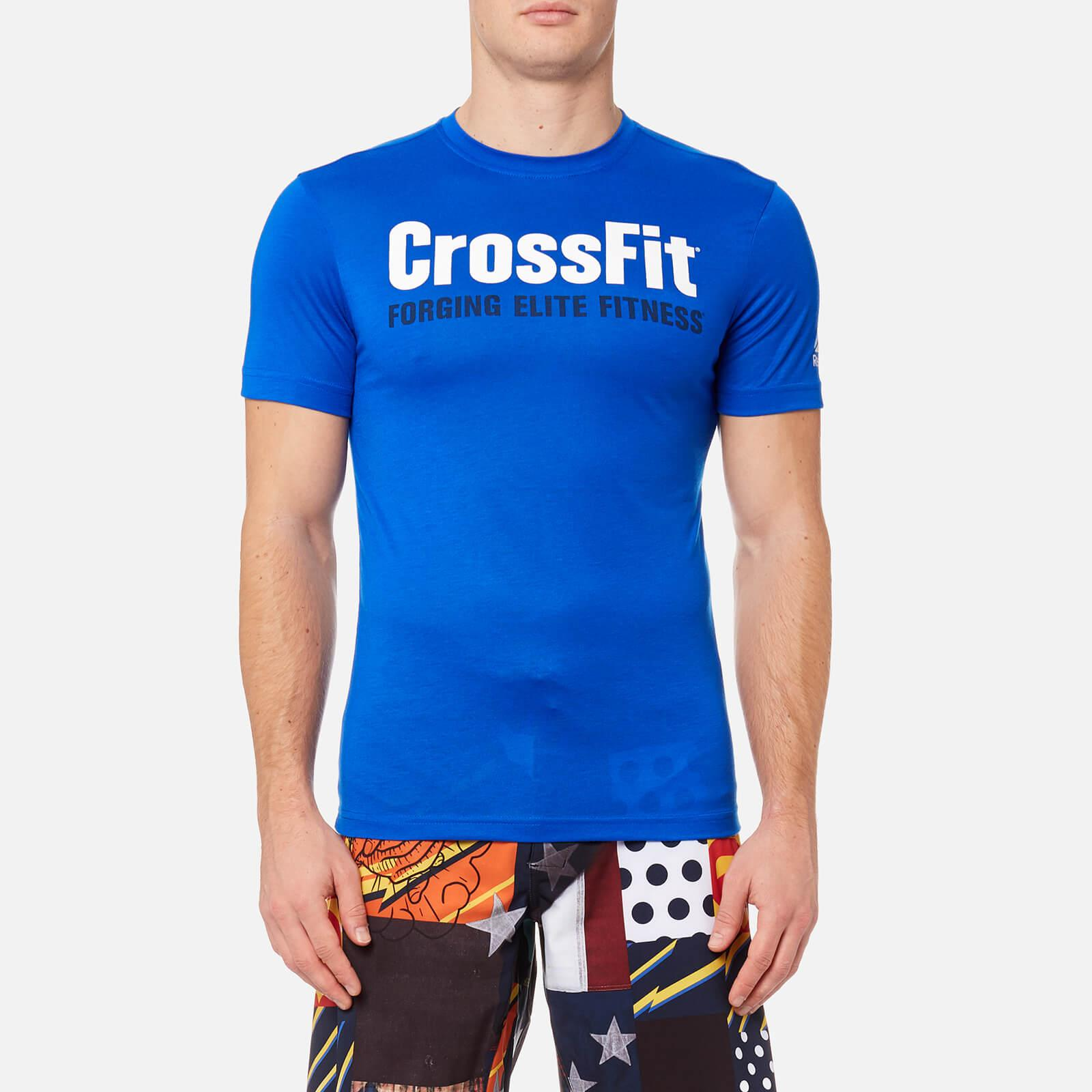 lyst reebok crossfit logo short sleeve t shirt in blue for men. Black Bedroom Furniture Sets. Home Design Ideas
