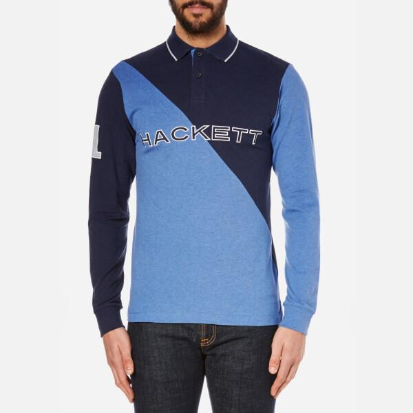 guys with iphones hackett marl diagonal polo shirt in blue for lyst 10753