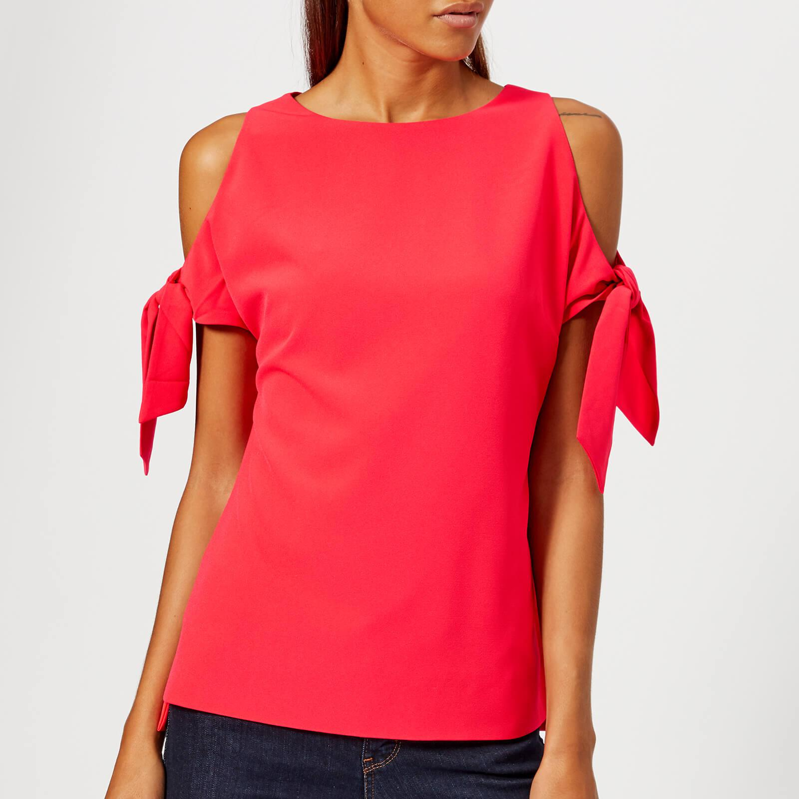 e8ac58288bcbbc Ted Baker Yaele Tie Sleeve Cold Shoulder Top in Red - Lyst
