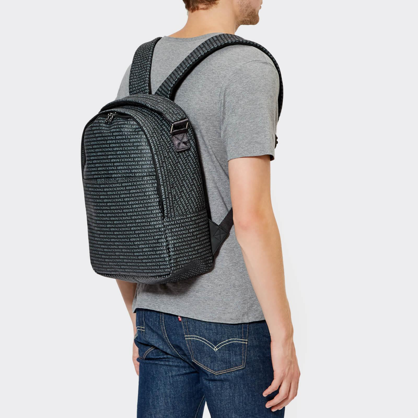 Armani Exchange - Black All Over Print Backpack for Men - Lyst. View  fullscreen 396fa3ff85395