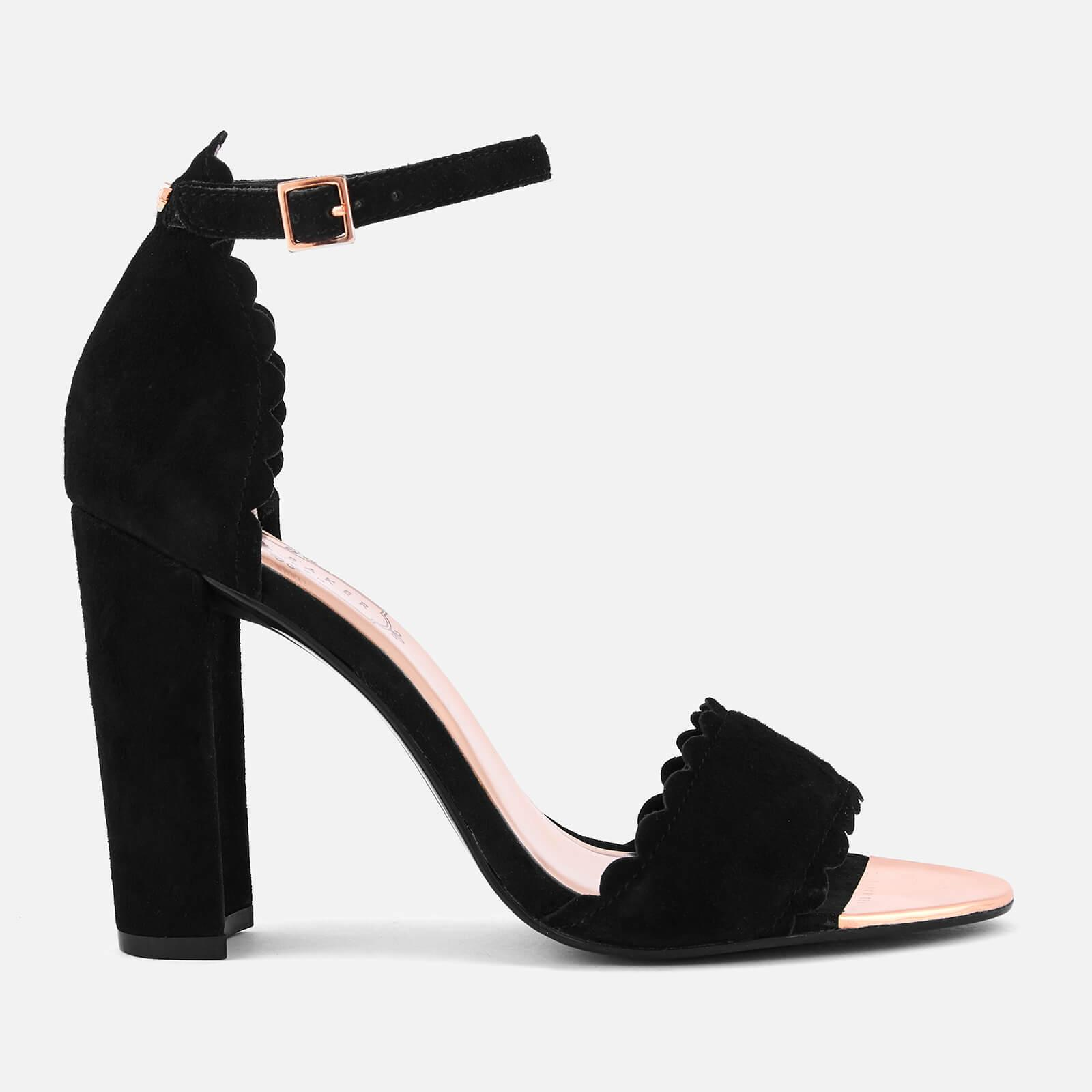 a9f70433c Ted Baker Raidha Suede Barely There Block Heeled Sandals in Black - Lyst