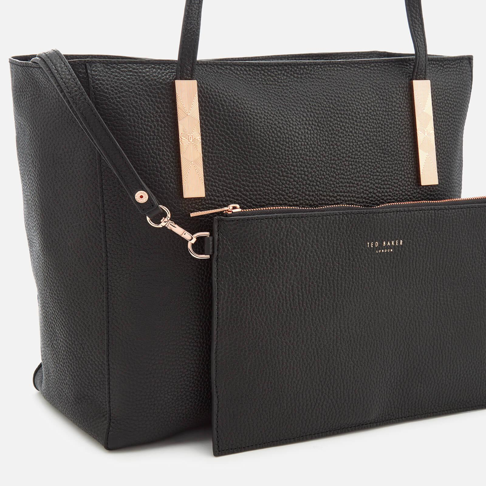 Ted Baker Leather Paigie Soft Grain Large Zip Tote Bag in Black