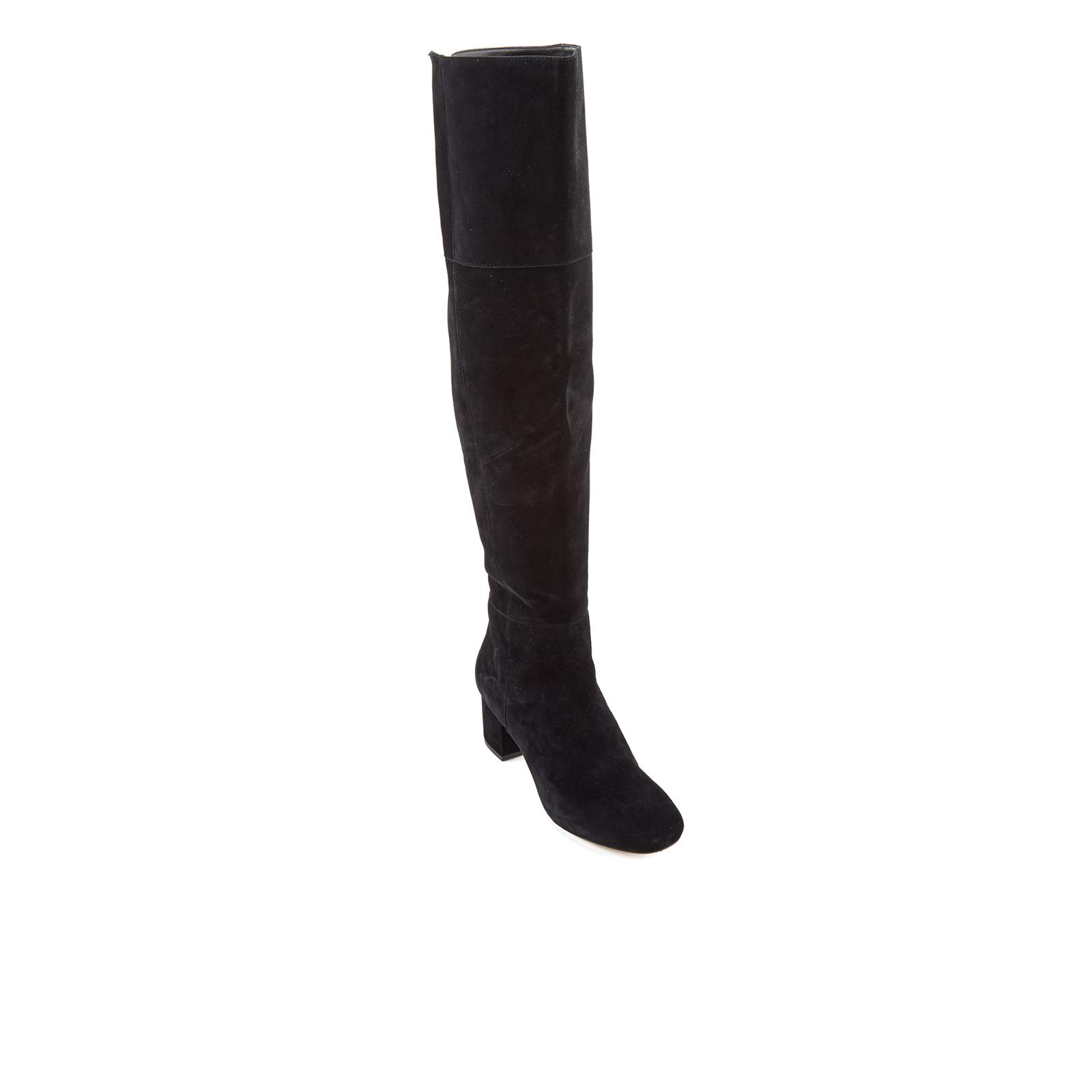 c76ee81a41b Lyst - Dune Sanford Suede Thigh High Heeled Boots in Black