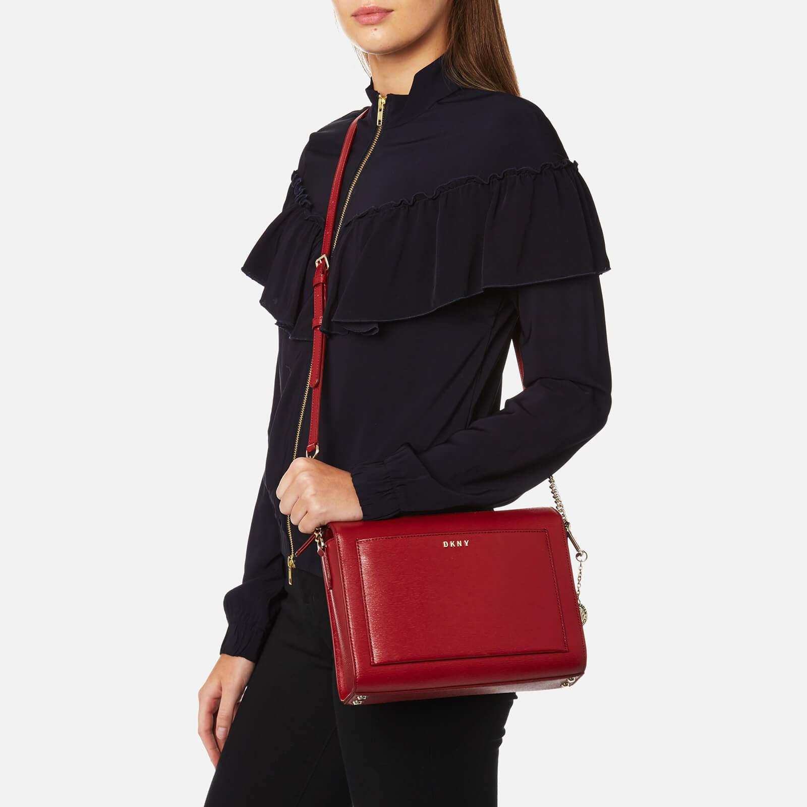 DKNY Leather Sutton Medium Box Cross Body Bag in Red