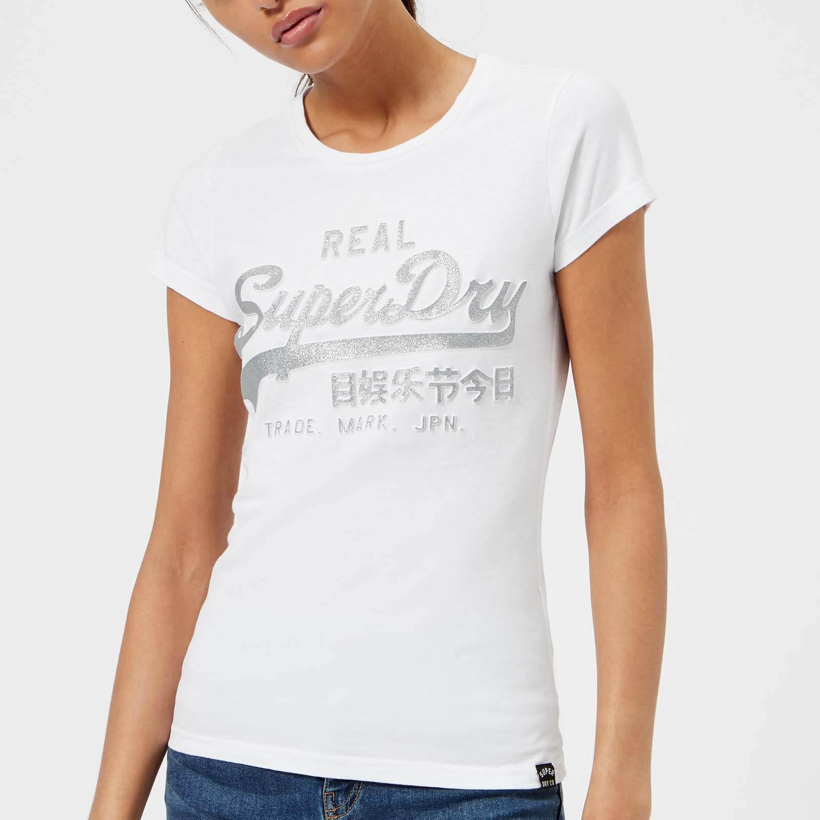 Superdry Cotton Vlogo Emboss Glitter Entry T-shirt in White