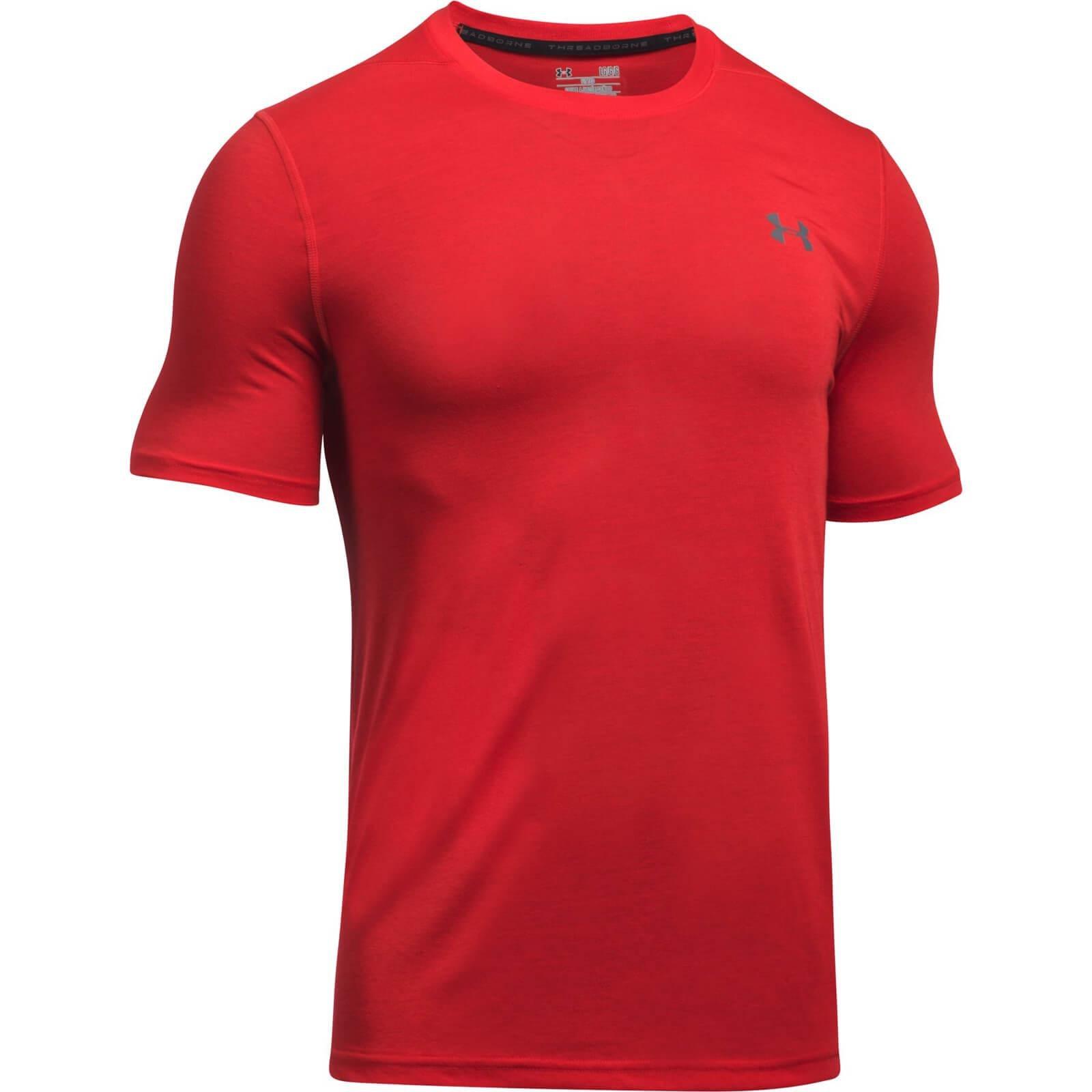 Lyst under armour threadborne fitted t shirt in red for men for Under armour fitted t shirt