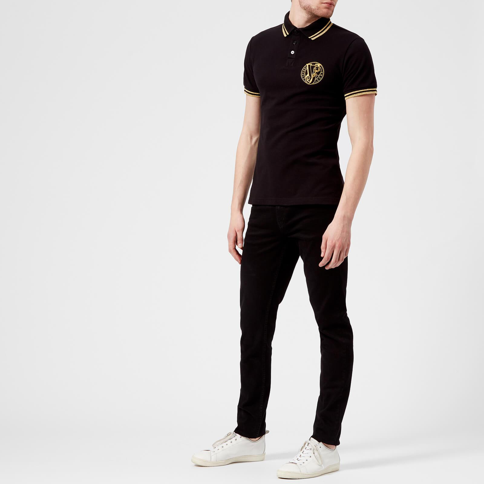 Versace Jeans Couture Denim Round Logo Polo Shirt in Black for Men