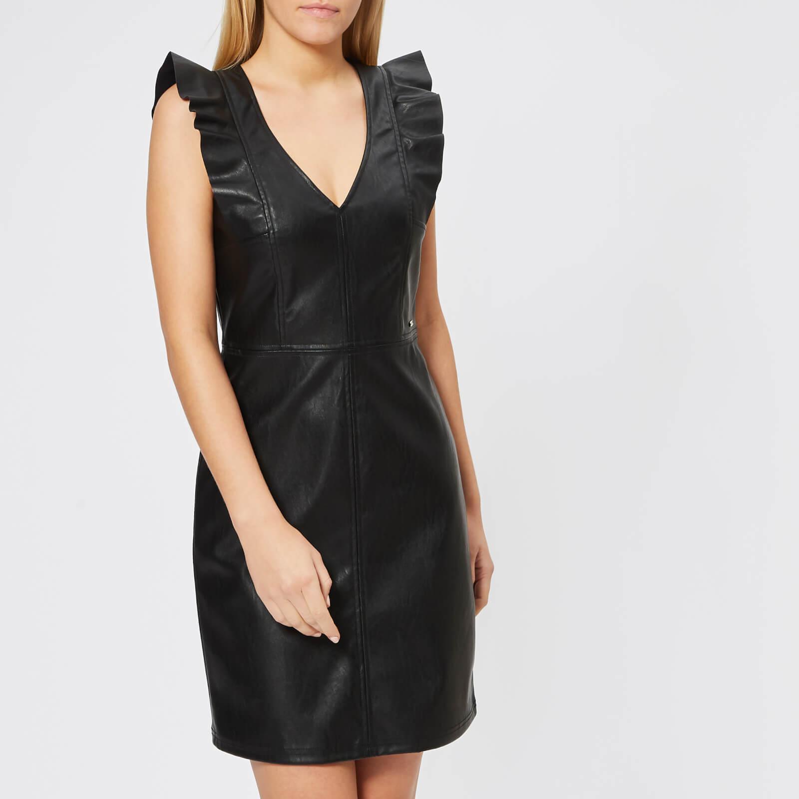 7a43b177dc3359 Lyst - Armani Exchange Stretch Echo Leather Look Dress in Black