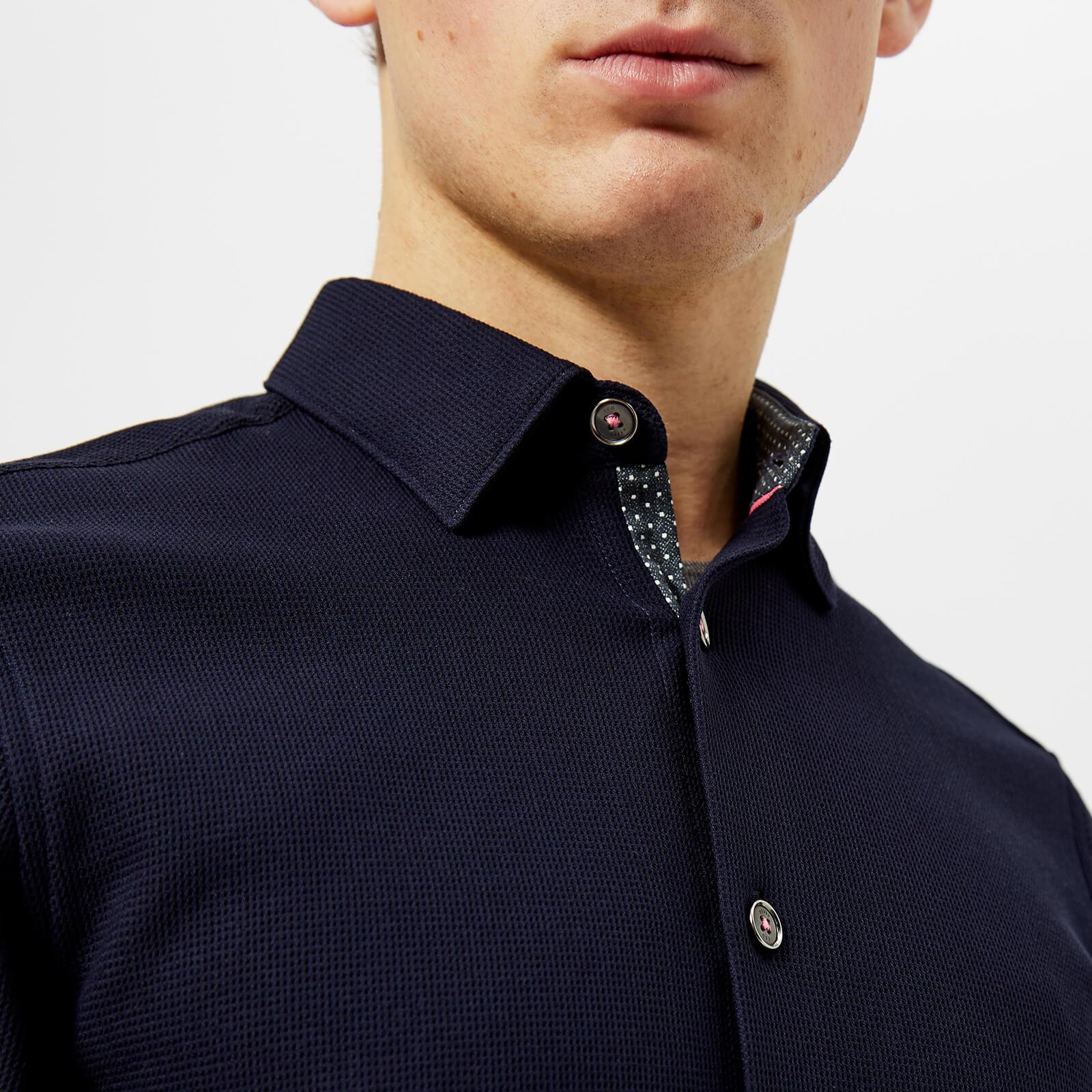 Ted Baker Synthetic Loretax Waffle Long Sleeve Shirt in Navy (Blue) for Men
