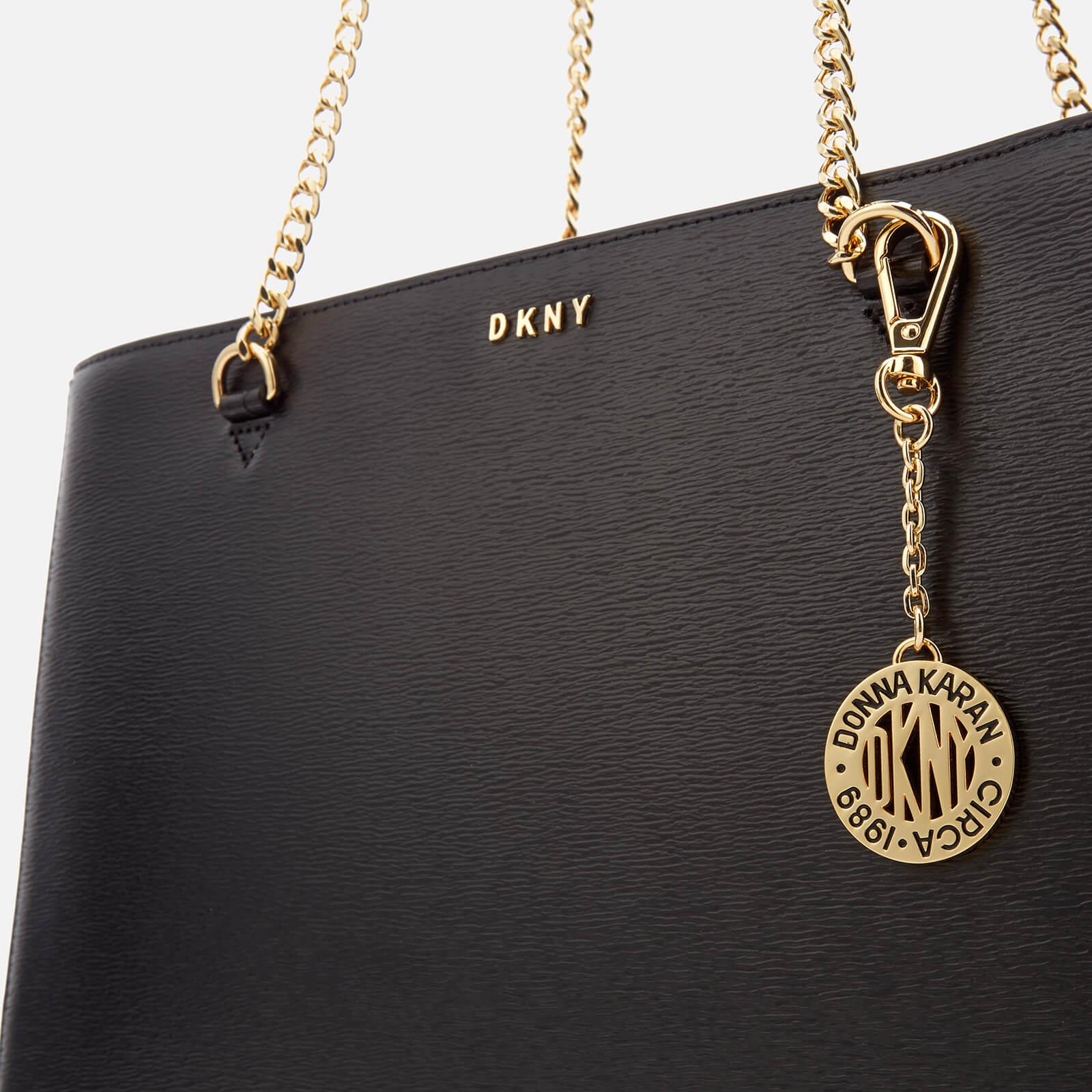 DKNY Leather Women's Bryant Large Shopper Tote Bag in Black