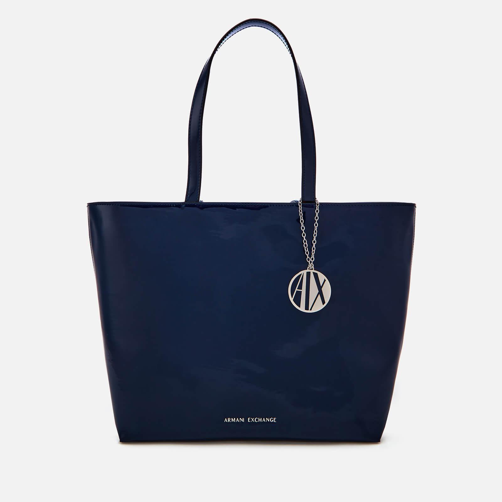 Armani Exchange - Blue Patent Shopping Tote Bag - Lyst. View fullscreen 4c78b14f6290d