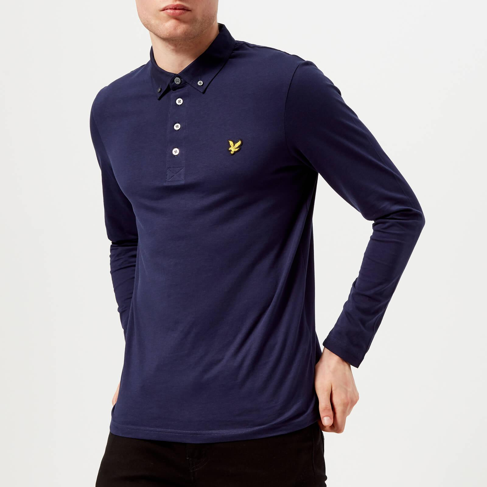 50fad081113 Lyle   Scott Long Sleeve Woven Collar Polo Shirt in Blue for Men - Lyst