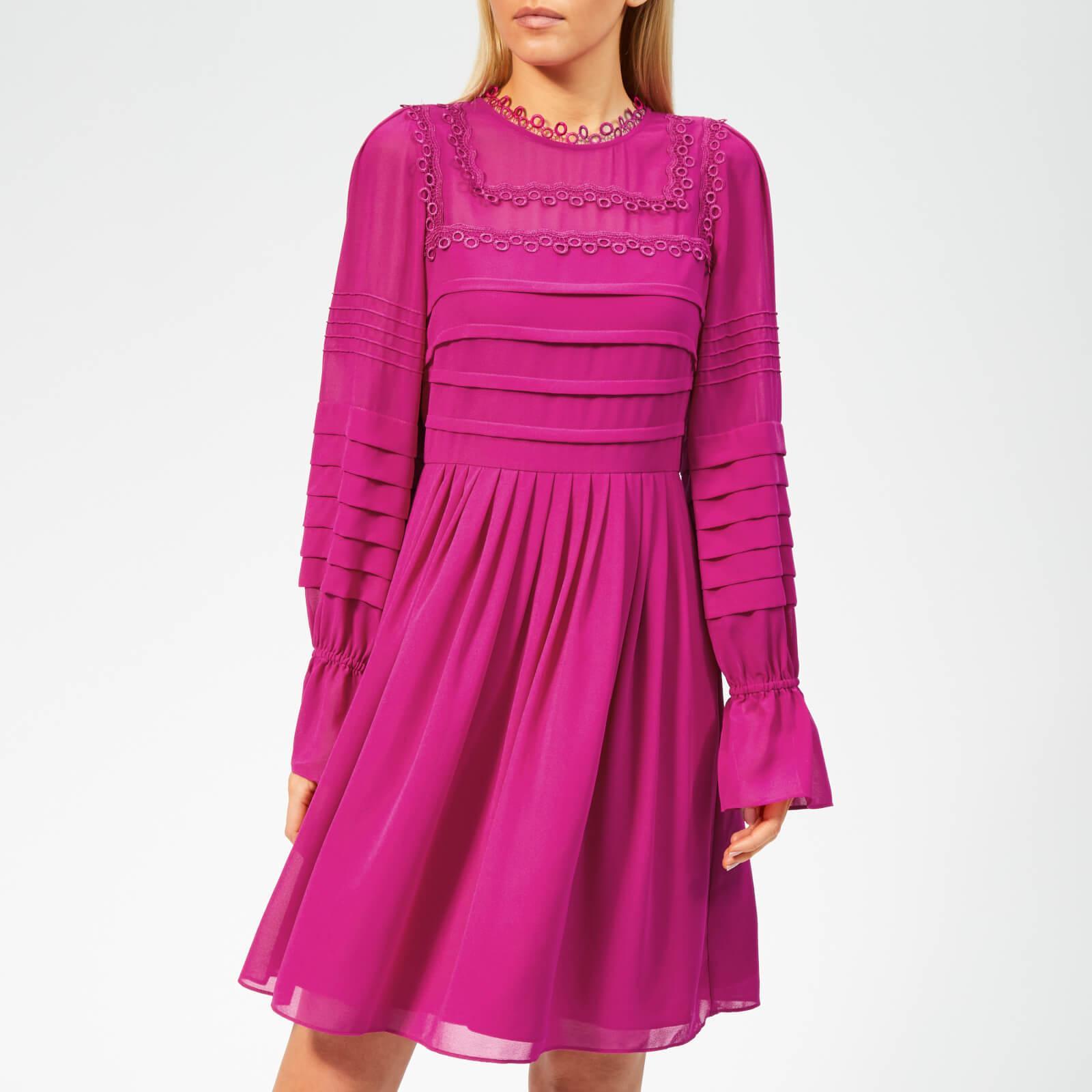 fa7edd49e54 Ted Baker Arrebel Lace Trim Volume Sleeve Dress in Pink - Lyst
