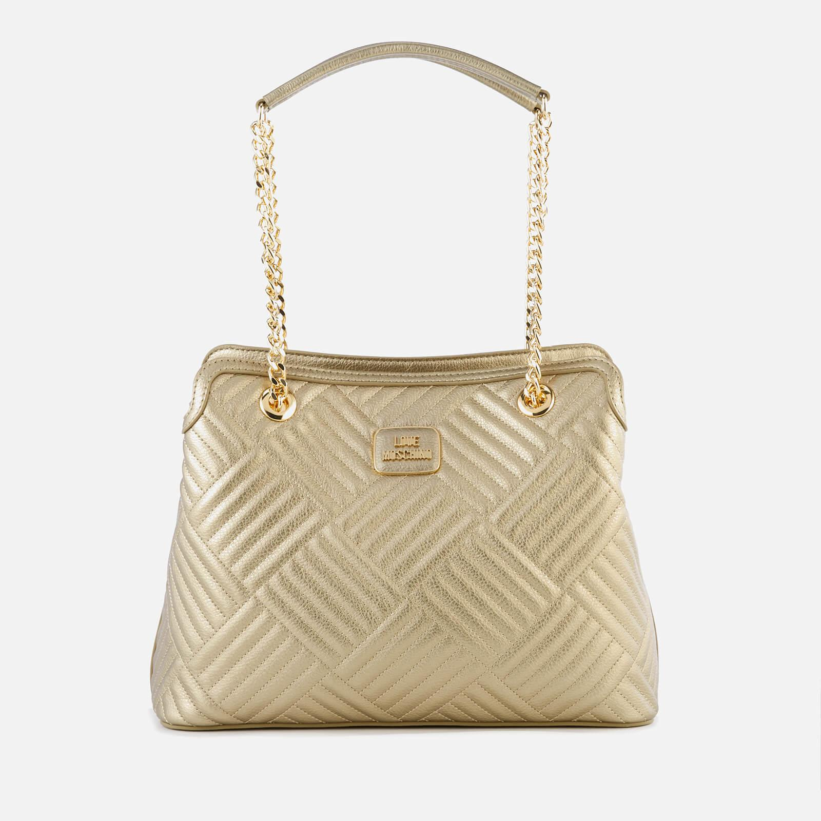 e8361d916ec Love Moschino Shiny Quilted Metallic Chain Tote Bag in .