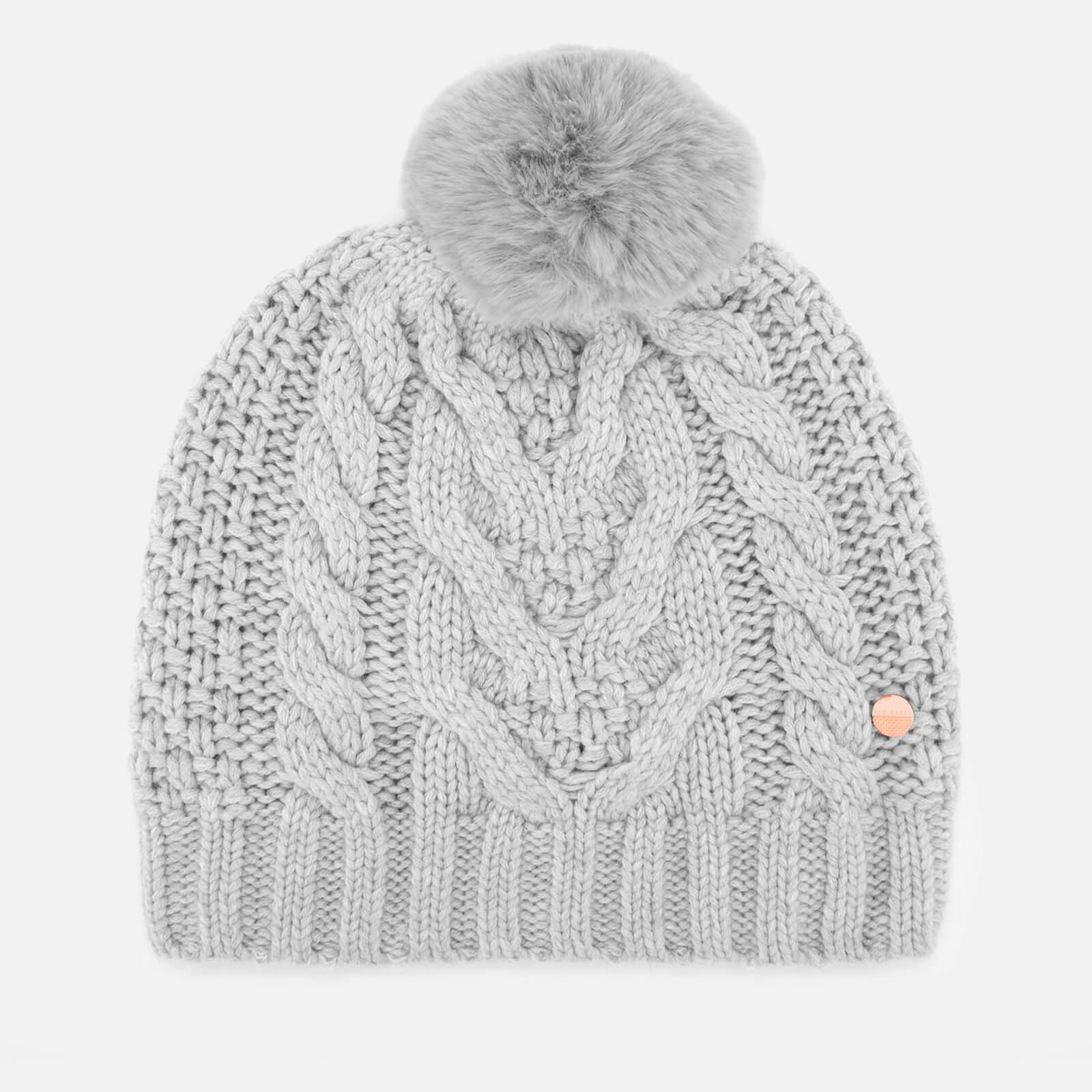 Lyst - Ted Baker Quirsa Cable Knit Pom Hat in Gray - Save 23% 4c2a2c5ba7d1