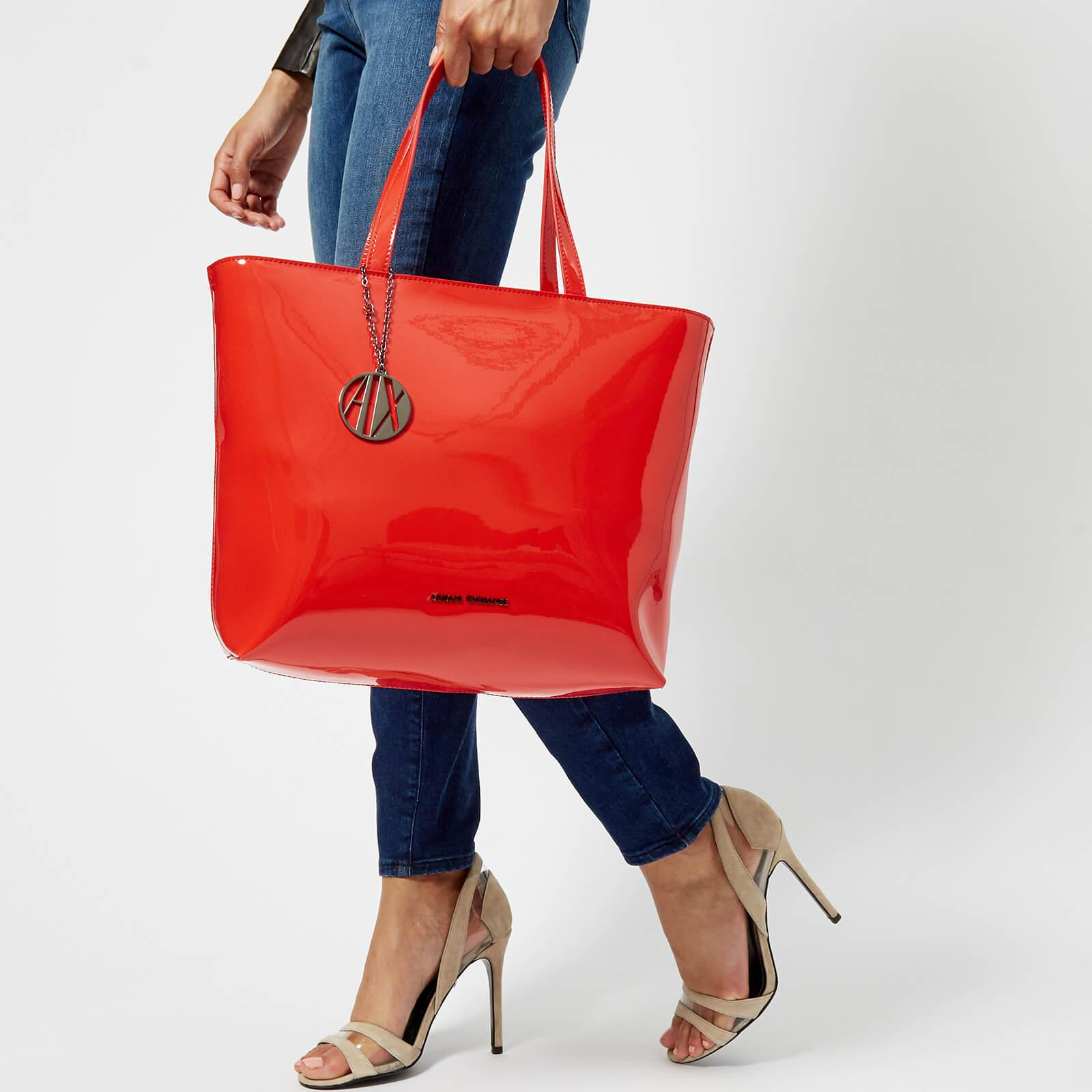 316efa08d864 Armani Exchange Patent Logo Charm Tote in Red - Lyst