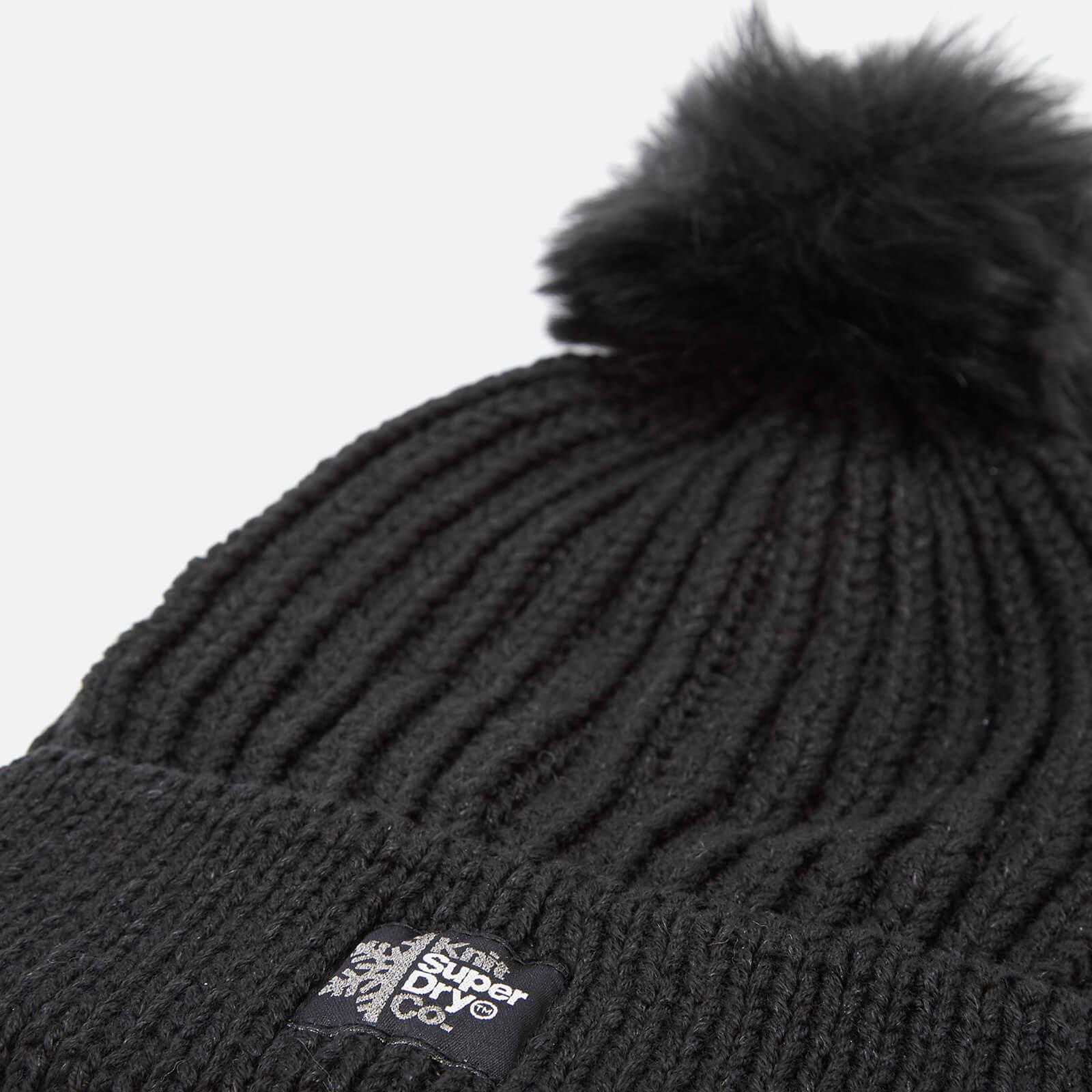 4a0aef4d0e0 Superdry Aries Sparkle Fur Bobble Hat in Black - Lyst