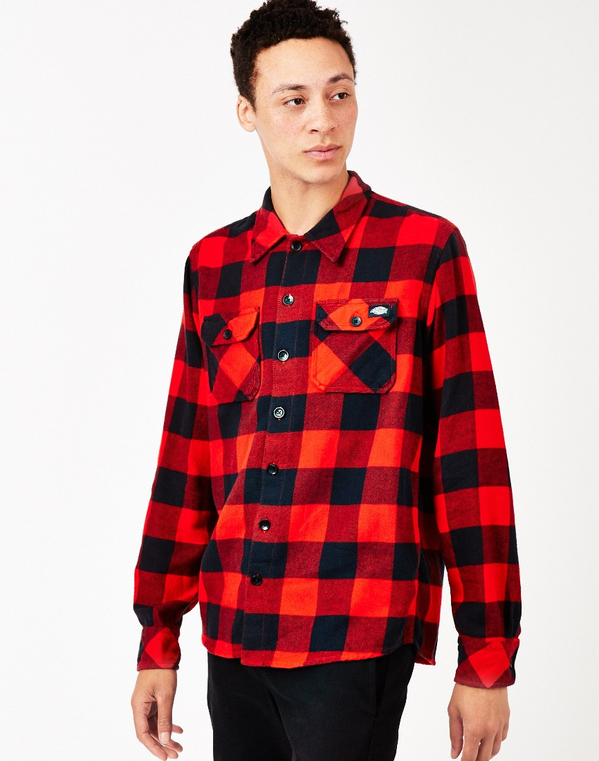 Dickies sacramento plaid check shirt red in red for men lyst for Dickey shirts clothing co