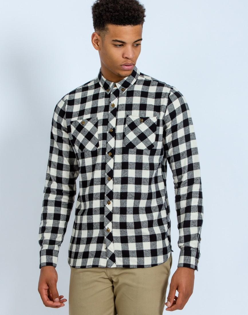 Lyst the idle man check shirt white in black for men for Black and white checker shirt