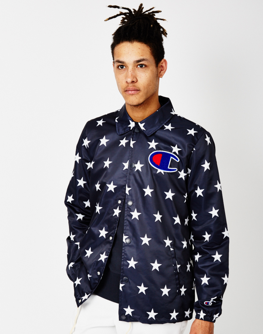 20ebea64 Champion Coach Jacket With Star Print in Blue for Men - Lyst