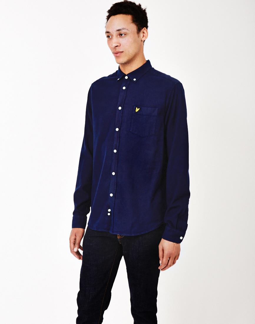 Lyle scott oxford shirt navy in blue for men navy lyst for Mens blue oxford shirt