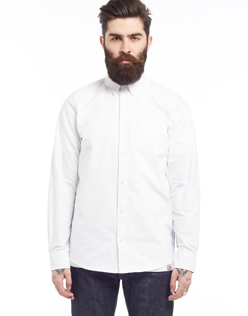 Lyst carhartt wip long sleeve porter shirt white in for Men a porter