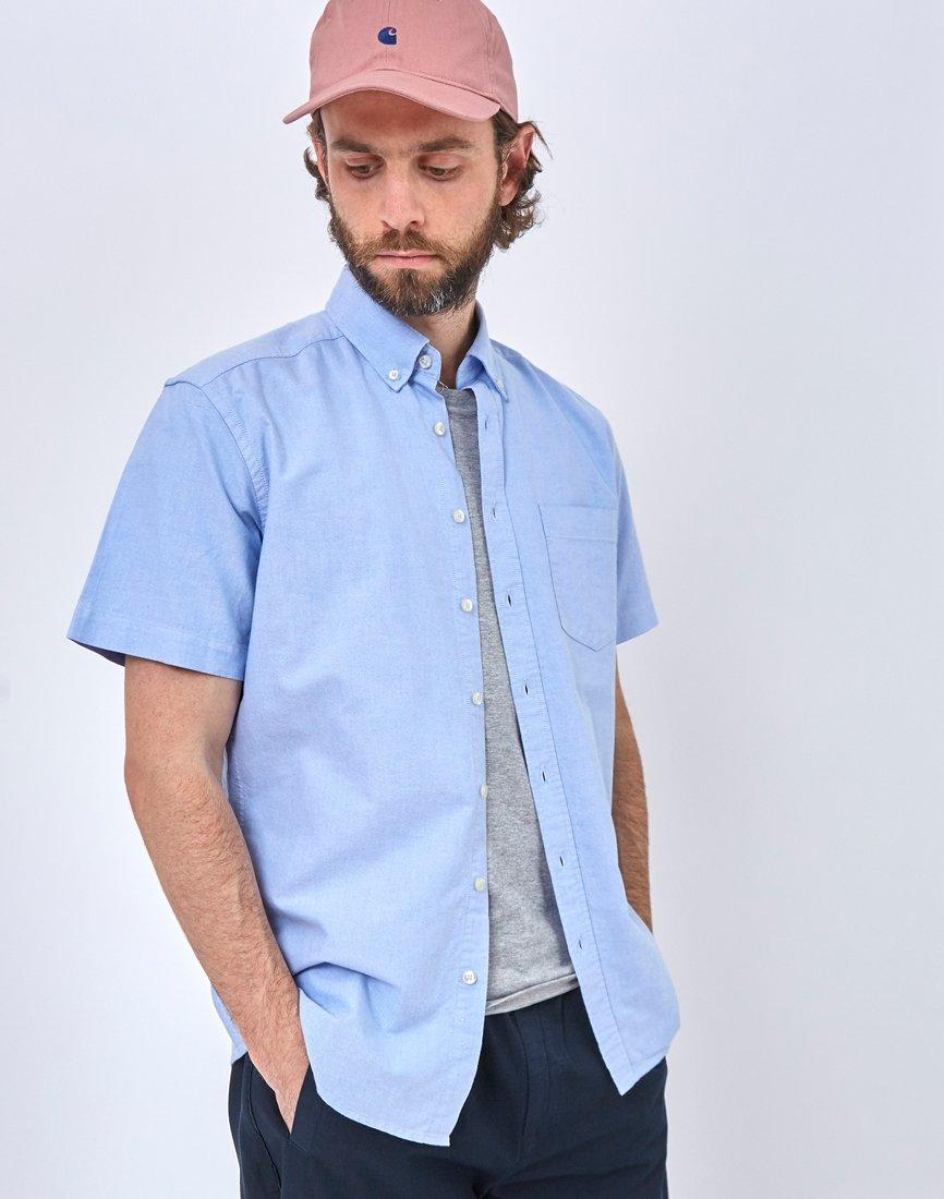 92b321b4ee64 The Idle Man Relaxed Modern Fit Oxford Short Sleeve Shirt Blue in Blue for  Men - Lyst
