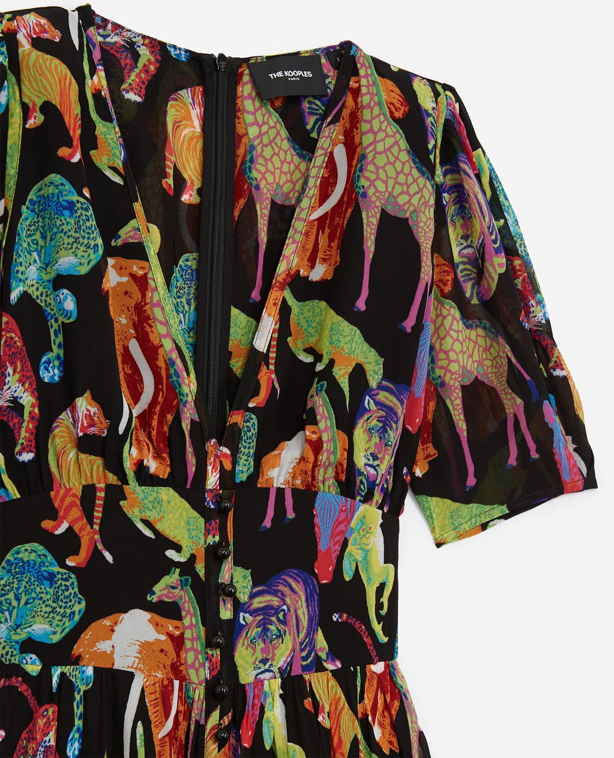 riesiges Inventar Wie findet man offizielle Seite The Kooples Multicolor Langes fließendes kleid mit dschungel-print