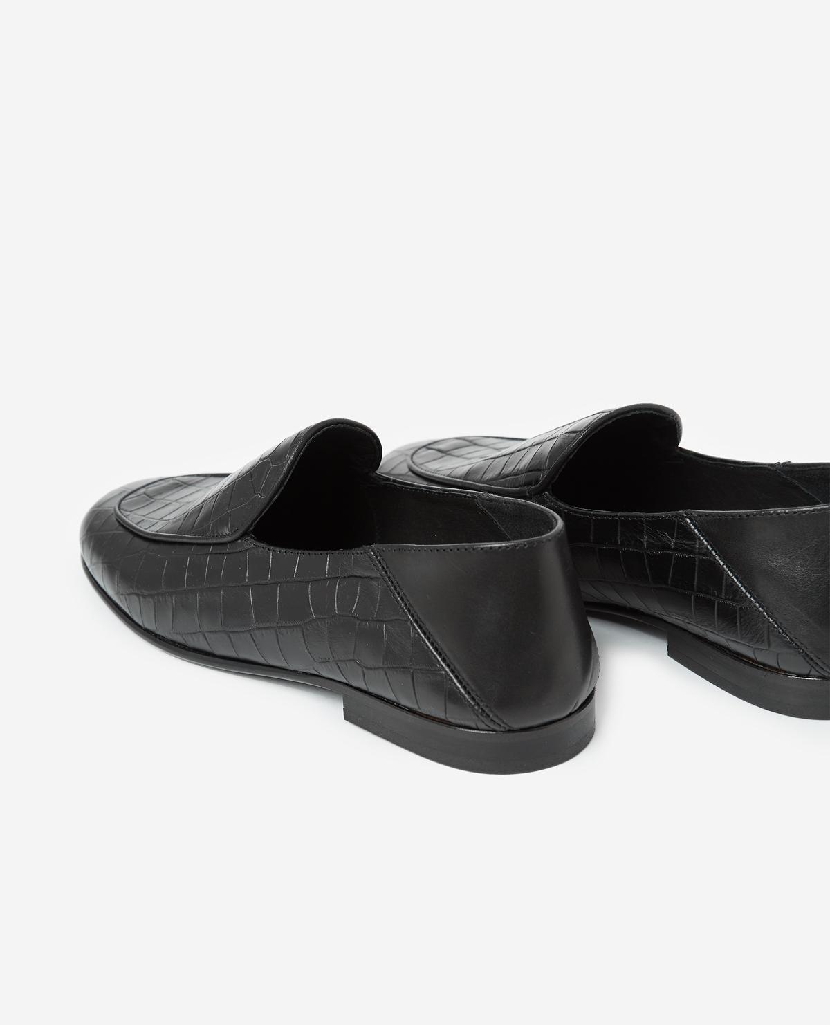 2c30725f76 The Kooples Black, Crocodile-effect Leather Slippers in Black - Lyst