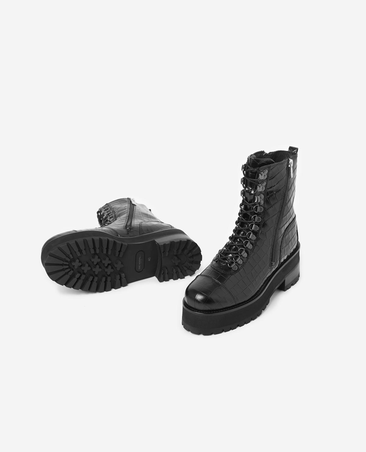 Botas con cordones negras de piel con suela dentada The Kooples de Cuero de color Negro